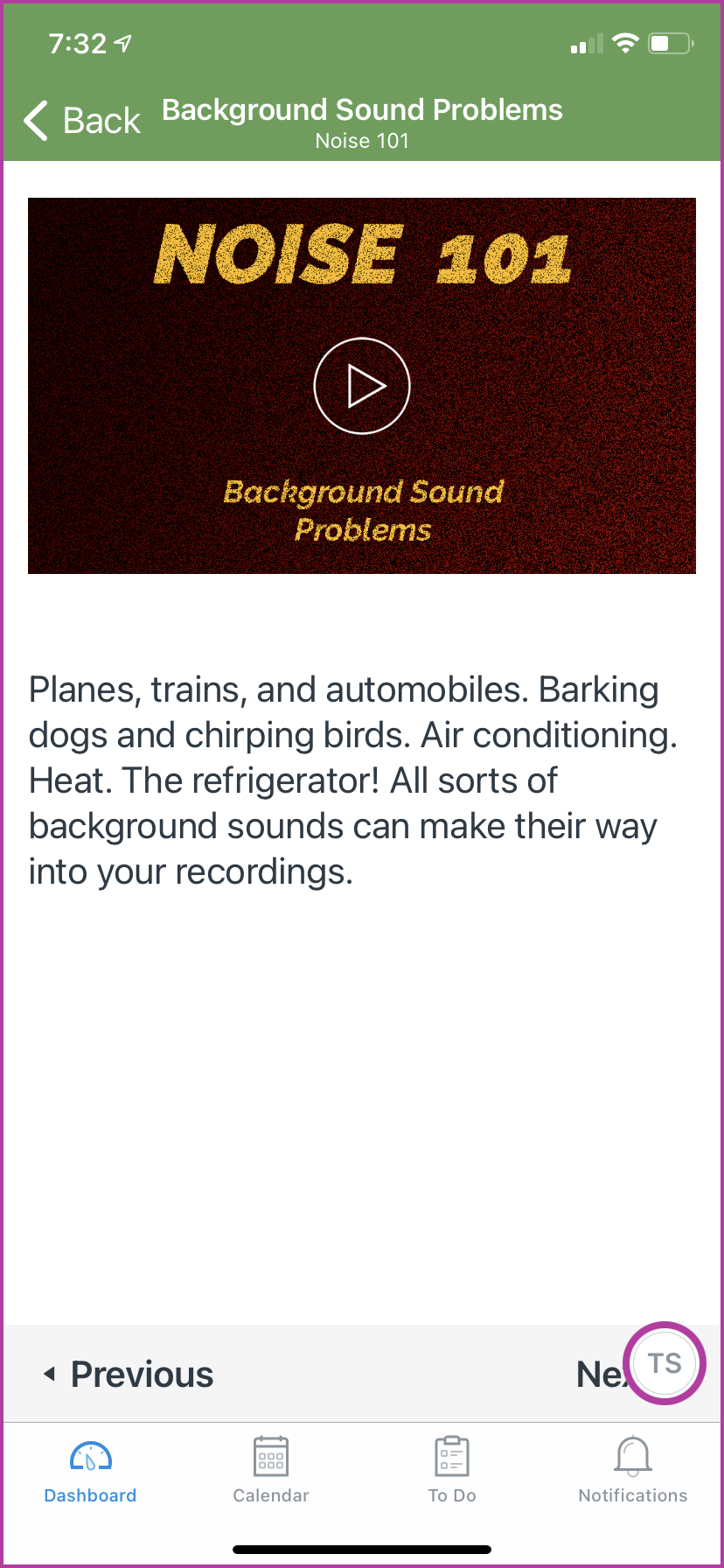 Example of a lesson in the module about diagnosing noise problems.