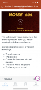 Example of the Noise 101 course preview, giving an overview of what students will learn in the course.