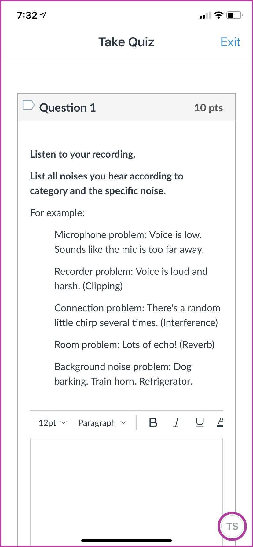 Example of the Analysis portion of their project. Instructions tell them to listen to their recording and identify all the noise problems they hear based on what they've learned about the 5 different kinds of noise.