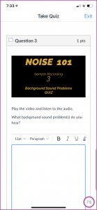 Example 3 of the quiz for the Noise 101 course. Instructions are to play the file and listen to identify the kinds of sound problems they hear.