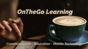 Woman using a smartphone while at a coffee shop. Communication + Education + Mobile Technology. OnTheGo Learning.
